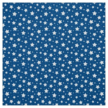 USA Themed Starry night star pattern fabric - white and blue