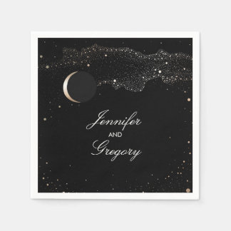 Starry Night Stars Black and Gold Wedding Paper Napkin