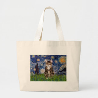 Starry Night - Tabby Tiger cat 30 Large Tote Bag