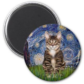 Starry Night - Tabby Tiger cat 30 Magnet