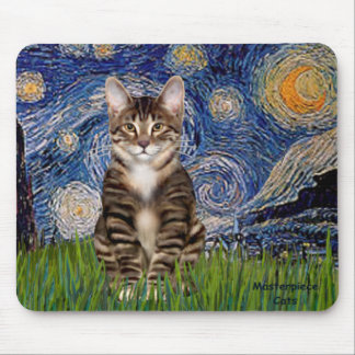 Starry Night - Tabby Tiger cat 30 Mouse Pad