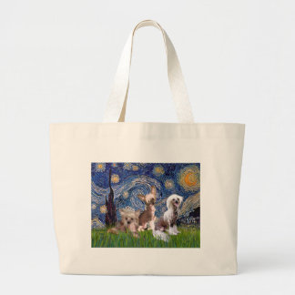 Starry Night - Three HL Chinese Cresteds Tote Bags