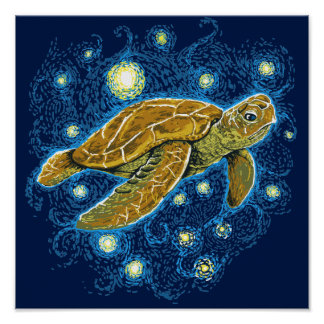 Starry Night Turtle Poster
