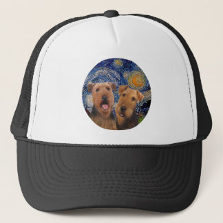 Starry Night - Two Airedales Trucker Hat