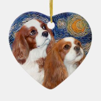 Starry Night - Two Blenheim Cavaliers Ceramic Ornament