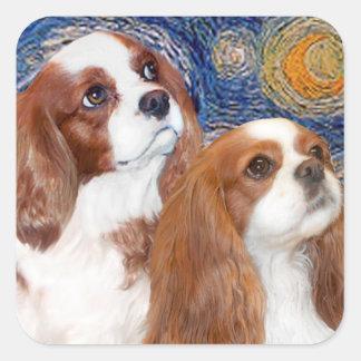 Starry Night - Two Blenheim Cavaliers Square Sticker