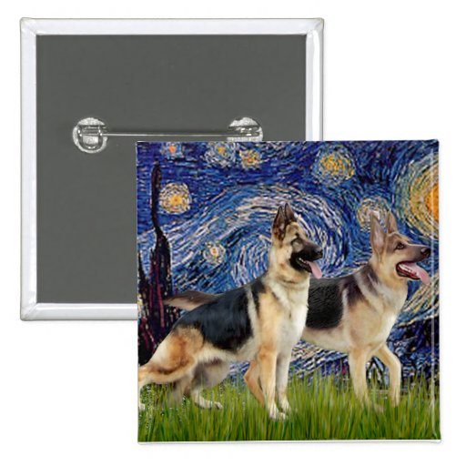 Starry Night - Two German Shepherds 2 Inch Square Button