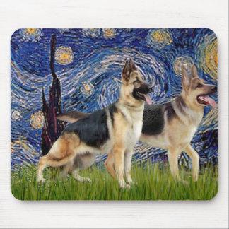 Starry Night - Two German Shepherds Mousepad