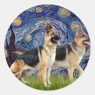 Starry Night - Two German Shepherds Sticker