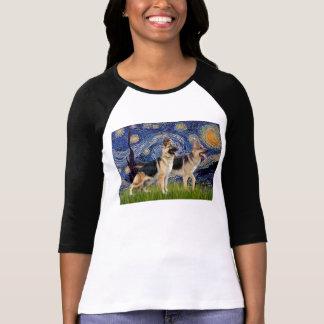 Starry Night - Two German Shepherds T-shirt