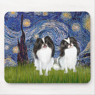Starry Night - Two Japanese Chins (BW) Mouse Pad
