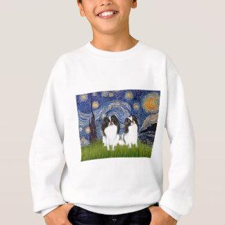 Starry Night - Two Japanese Chins (BW) Sweatshirt
