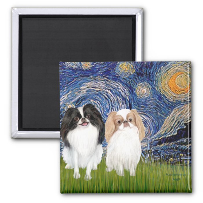 Starry Night - Two Japnaese Chins (BW+L) 2 Inch Square Magnet