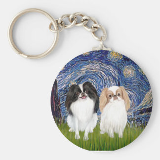 Starry Night - Two Japnaese Chins (BW+L) Key Chains