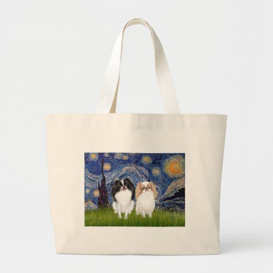 Starry Night - Two Japnaese Chins (BW+L) Large Tote Bag