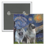 Starry Night - Two Keeshonds Buttons