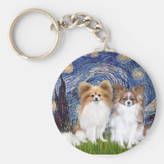 Starry Night - Two Papillons Keychain