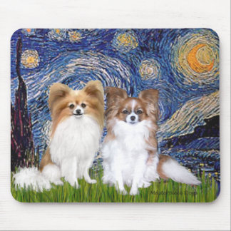 Starry Night - Two Papillons Mousepad