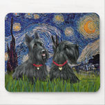 Starry Night - Two Scottish Terriers Mouse Pad