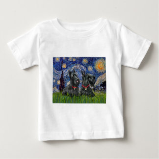 Starry Night - Two Scottish Terriers T-shirts