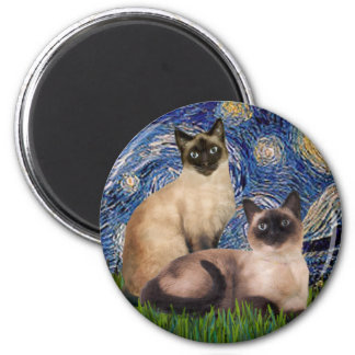 Starry Night - Two Siamese cats (Choc Pt) 2 Inch Round Magnet