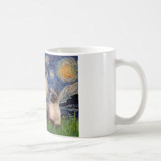 Starry Night - Two Siamese cats (Choc Pt) Coffee Mug