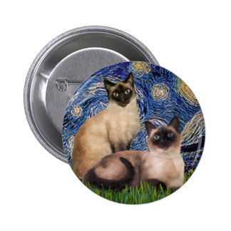 Starry Night - Two Siamese cats (Choc Pt) Pinback Button
