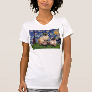 Starry Night - Two Siamese cats (Choc Pt) T Shirt