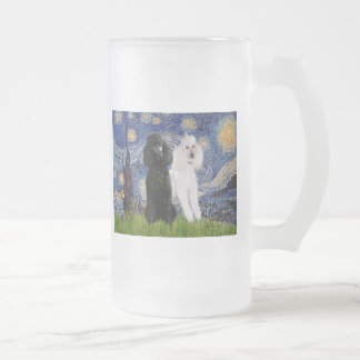 Starry Night - Two Standard Poodles Frosted Glass Beer Mug