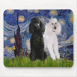 Starry Night - Two Standard Poodles Mouse Pads