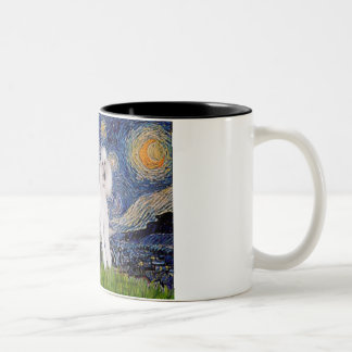 Starry Night - Two Standard Poodles Two-Tone Coffee Mug