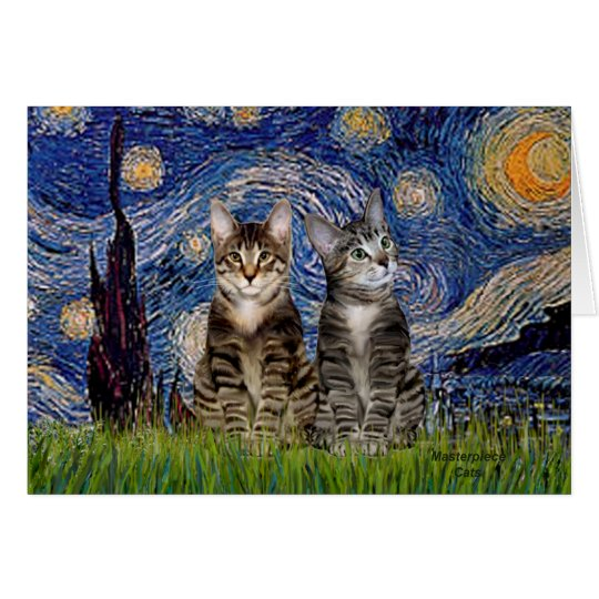 Starry Night - Two Tabby Tiger Cats Card