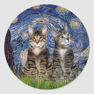 Starry Night - Two Tabby Tiger Cats Sticker