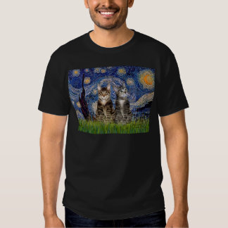 Starry Night - Two Tabby Tiger Cats Tee Shirt