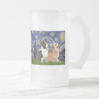 Starry Night - Two Welsh Corgis (C + P) Frosted Glass Beer Mug
