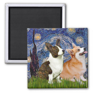 Starry Night - Two Welsh Corgis (C + P) Magnet