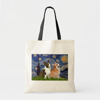 Starry Night - Two Welsh Corgis (C + P) Tote Bag