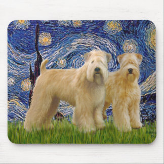 Starry Night - Two Wheaten Terriers (2nd) Mouse Pad
