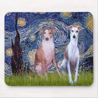 Starry Night - Two Whippets Mouse Pad
