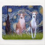 Starry Night - Two Whippets Mousepad
