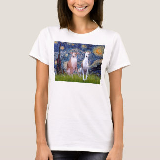 Starry Night - Two Whippets T-Shirt