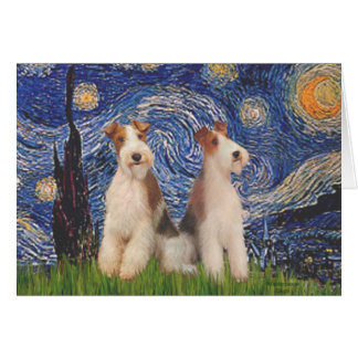 Starry Night - Two Wire Fox Terriers Card