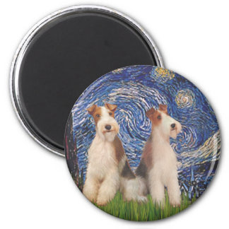 Starry Night - Two Wire Fox Terriers Magnet