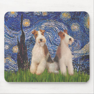 Starry Night - Two Wire Fox Terriers Mouse Pad