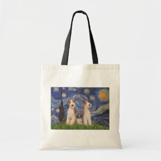 Starry Night - Two Wire Fox Terriers Tote Bag