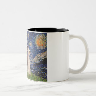 Starry Night - Two Wire Fox Terriers Two-Tone Coffee Mug