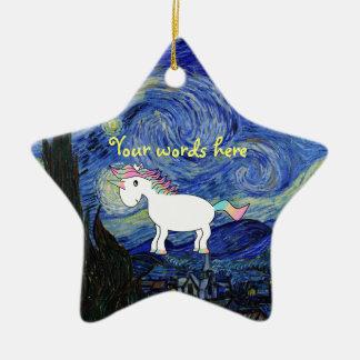 Starry night unicorn ornament