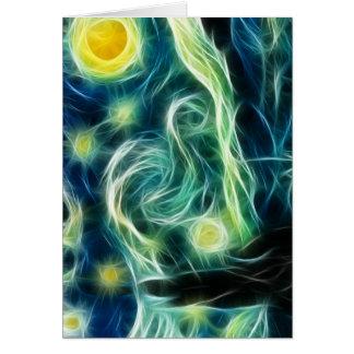 Starry Night Van Gogh Fractal art Greeting Card