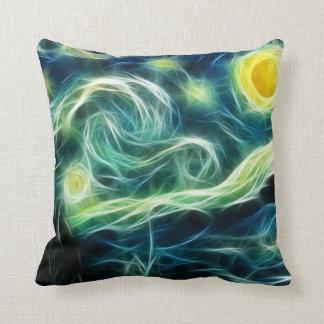 Starry Night Van Gogh Fractal art Throw Pillows