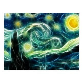 Starry Night Van Gogh Fractal art Postcard
